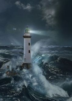 : # Lighthouses - Lighthouse In The Storm By Moonlight. Title: Lighthouse In The Storm By Moonlight. Lighthouse Storm, Lighthouse Painting, Lighthouse Pictures, Stormy Sea, Stormy Night, Beacon Of Light, Nice To Meet, Belle Photo, Scenery