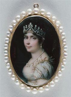 Josephine wearing the pearl tiara with similarities to the one seen in previous pins worn by her daughter, Hortense