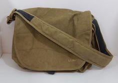 """L.L. Bean Canvas Beige Messenger Bag 10"""" Tall 17"""" Wide 9"""" Deep #LLBean #MessengerShoulderBag"""