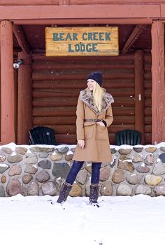 ASOS Coat in A Line Fit with Faux Fur Collar and Belt, timberland mt hayes boots, northern Michigan lodge