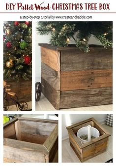 How to Make a Christmas Tree Box with pallet wood. wood christmas projects How to Make a Christmas Tree Box - Create and Babble Pallet Wood Christmas Tree, Christmas Tree Box Stand, How To Make Christmas Tree, Christmas Holidays, White Christmas, Pallet Tree, Merry Christmas, Palette Diy, Country Christmas Decorations