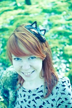Handmade sequin cat-fascinator