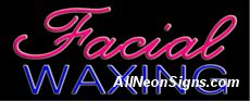 """Neon Sign - FACIAL WAXING-10350-3508  13"""" Wide x 32"""" Tall x 3"""" Deep  110 volt U.L. 2161 transformers  Cool, Quiet, Energy Efficient  Hardware & chain are included  6' Power cord  For indoor use only  1 Year Warranty/electrical components  1 Year Warranty/standard transformers."""