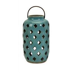 """12"""" Teal Ceramic Candle Lantern"""