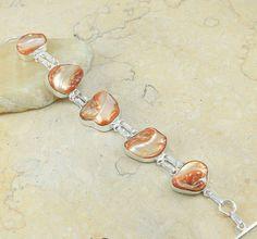 "Exotic Genuine Brown Biwa Pearl Jewelry 925 Sterling Silver Bracelet 8.5"", #8 #Hermosa #Chain"