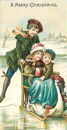 Christmas greetings- victorian children skating with sled