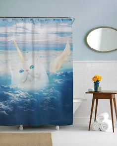 Cat Shower Curtain Unicorn Funny Blue Fabric Animal Art Waterproof Hooks Included