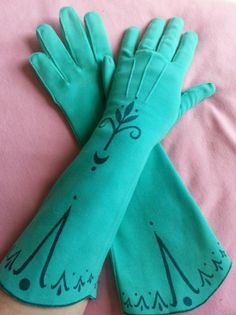 "Frozen Elsa XS 5 13 5"" Adult Sea Green Sueded Cloth Cosplay Gloves Handmade 