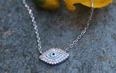 Evil eye pendant,Evil eye necklace,Silver evil eye,Necklace silver,Light blue enamel,Cz white zirconia,Protection pendant,Good luck necklace by BEDAZZLEDITEMS on Etsy