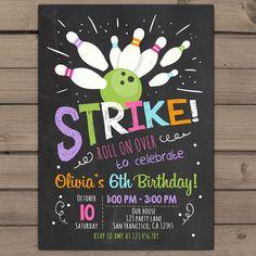 Bowling Birthday invitation Bowling Birthday Party Invitation Pink purple Girl birthday Girl Bowling Chalkboard Digital Printable ANY AGE by Anietillustration on Etsy https://www.etsy.com/listing/258958318/bowling-birthday-invitation-bowling