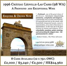 1996 Chateau Leoville-Las Cases (98 WA) - 8 Cases (OWC) Available - The Antique Wine Company (AWC)