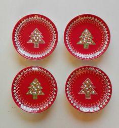 Dot Art Painting, Mandala Painting, Pebble Painting, Pottery Painting, Stone Painting, Christmas Design, Christmas Crafts, Pointillism, Clay Pots