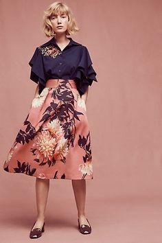 Grand Floral Midi Skirt #anthropologie