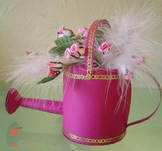 Watering Can by Sandra Lamb, using a card making template from Card Carousel. Card Making Templates, Paper Boxes, 3d Cards, Pretty Cards, Display Boxes, Tins, Carousel, Plant Hanger, Cardmaking