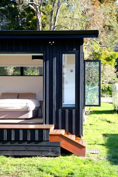 Architecture - Marlborough Sounds Bach, Eco-friendly bach design in the Sounds. Mobile Home Exteriors, Marlborough Sounds, Casas Containers, Best Tiny House, Eco Architecture, Farm Stay, Container House Design, Home Design Plans, Coastal Homes