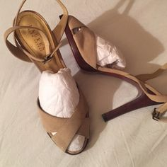 Ralph Lauren sandals NWOT cream suede 4 1/2 inch heel. With a little spot on left sandal and side mark on right sandal. Ralph Lauren Shoes Sandals