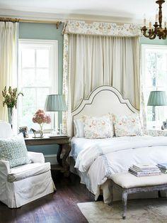 canopi, wall colors, bedroom decor, headboard, beds, guest bedrooms, blue, master bedrooms, hous