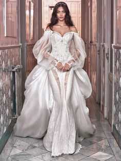 victorian wedding dresses sexy mermaid beaded corset sweetheart with puff sleeves<br> Celebrity Wedding Dresses, Wedding Dress Trends, Wedding Dress Sizes, Perfect Wedding Dress, Celebrity Weddings, Bridal Dresses, Gown Wedding, Couture Dresses, Event Dresses