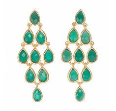 Drop shape Sterling Silver Earring with semi precious stones also available in gold plated Gemstones - Green Onyx - 3 pcs Carnelian -3 pcs Gemstones Colour - Green Orange