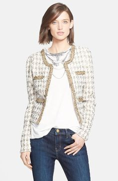 2014 #nsale   Mcginn 'Tania' Embellished Houndstooth Tweed Jacket available at #Nordstrom  Sale: $179.00 After Sale: $275.00  Item #721624  For an updated take on timeless style, a nubby tweed jacket is kissed with metallic finery. Modern gold chains accent the contrast ribbon trim to highlight the scooped neck, placket and quartet of pockets.