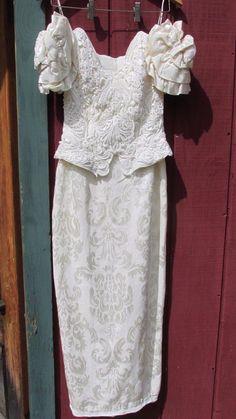 Vintage Wedding Dress Jessica McClintock Formal Gown Tea Length Lace Brocade 5/6
