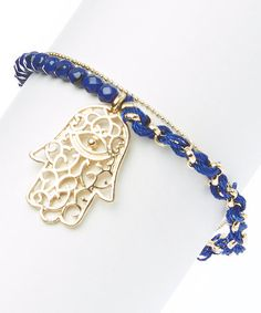 Look what I found on #zulily! Gold & Sapphire Filigree Hamsa Pendant Bracelet by LCO Jewelry #zulilyfinds