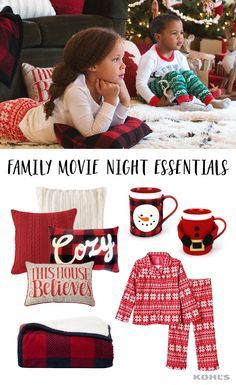 "Make family holiday movie night extra cozy this year. Featured product includes: toddler girl Carter's microfleece fairisle pajama set, Madison Park York faux fur throw pillow in champagne, VCNY cable-knit throw pillow, St. Nicholas Square ""cozy"" plaid oblong throw pillow ,""This house believes"" throw pillow, ""yuletide"" 2-piece snowman sweater coffee mug set and 2-piece Santa sweater coffee mug set and Cuddl Duds premium sherpa throw. Celebrate the season with Kohl's."