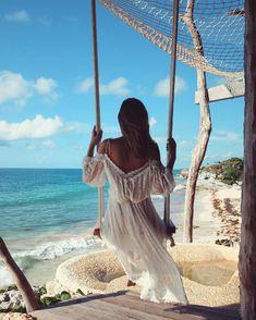 Swing Life Away ☁️ Dress link in bio x .... Azulik Hotel - Tulum, Mexico // by Jessica Stein - Tuula