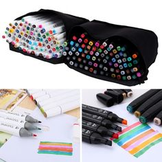40/60/80 Color Alcohol Graphic Art Twin Tip Pen Markers Broad Sketch Drawing+Bag