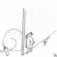 InkTober Fat A fatty pet (cat or chihuahua?) trying to pass through the cat-flap. Rapidly drawn and without reference. InkTober 16 : Gras Un animal (chat ou chihuahua ? Dessin fait rapidement et sans modèle. Inktober, Chihuahua, Fantasy Art, Fat, Creatures, Dogs, Instagram Posts, Animals, To Draw
