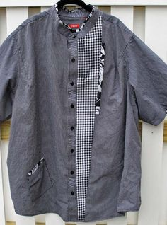 With Needle and Brush: Refashioned Men's Shirt Men's Shirt Redo, Shirt Refashion, Shirt Makeover, Clothes Refashion, Diy Shirt, Sewing Clothes, Diy Clothes, Umgestaltete Shirts, Altered Couture