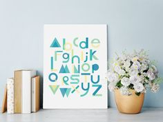 ABC+Art+Deco+Lettering+Wall+Art+Print+in+Blue+by+HartAndWallDesign