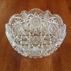"Cut Glass 8"" Fruit Bowl - Brilliant Scalloped Saw Tooth Hobstar Cross Hatch by BucketListGarnishes on Etsy"