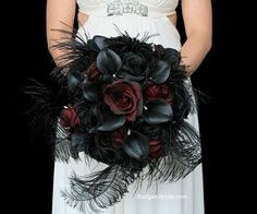 Red and Black Feather Calla lily brides bouquet wedding flowers