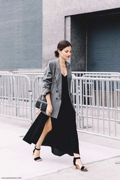 New York Fashion Week Spring Summer 2016 Street Style Maria Duenas Jacobs Grey Blazer Long Dress Saint Laurent Bag 2 790x1185
