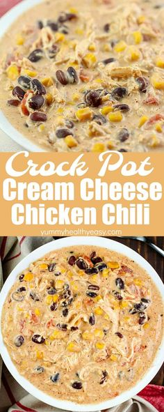 Throw this Crock Pot Cream Cheese Chicken Chili recipe into your slow cooker in the morning and you'll have a delicious chili at dinnertime your whole family will love! This is my family's favorite dinner! #chili #easy #recipe #crockpot #slowcooker #creamcheese #chicken #beans #creamy