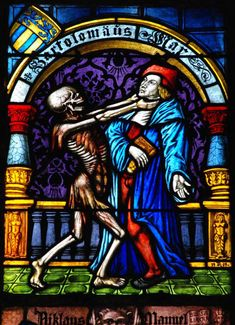 "We are going to reproduce this as ""stained glass"" on vinyl in our house. It's from a cathedral in Switzerland as part of a ""dance of death"" series."