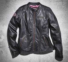 Women's Pink Label Leather Jacket - This Harley gift is on top of my list. Shop Now. Motorcycle Riding Jackets, Motorcycle Style, Motorcycle Outfit, Biker Style, Motorcycle Clothes, Riding Gear, Harley Davidson Online Store, Biker Chick, Pink Outfits