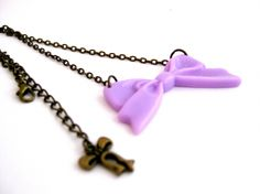 "Collier ""Chabby Chic"" Noeud Violet Pastel Chaine couleur Bronze"