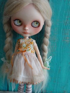 Blythe doll outfit - *Sunflower fields* - grunge vintage embroidered dress by marina, $60.00 USD