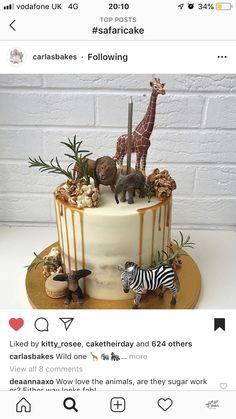 Giraffe Birthday Cakes, Jungle Theme Birthday, 2nd Birthday Party Themes, Baby Birthday Cakes, Baby Boy 1st Birthday, Jungle Party, Safari Party, Birthday Ideas, Safari Baby Shower Cake