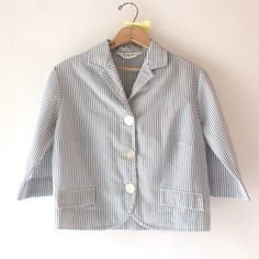 1960's white and chambray seersucker blazer by SchoolofVintage, $29.00