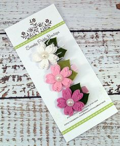 Pink White Flower Hair Clips Wool Felt by SwankyPickleBoutique, $13.50
