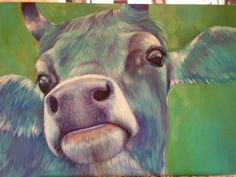 Color-cow II Cows, Painting, Animals, Canvas, Animaux, Painting Art, Animal, Paintings, Animales