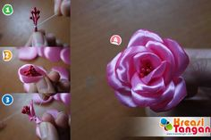 Tutorial Cara Membuat Bunga Mawar Dari Pita