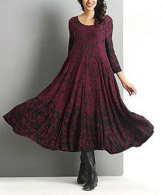 Plum Floral Swing Midi Dress