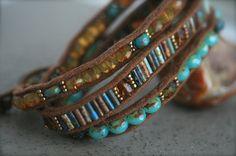Czech beaded wrap bracelet in amber and aqua by FlowSilverJewelry