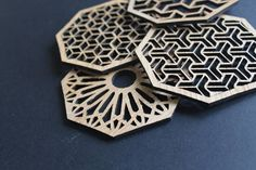 Our laser cut coasters will bring that unique twist to any room. Coasters are a set of 4. 10cm Diameter. Made of Oak Wood and finished with Polyurethane for protection against water, humidity, and heat.