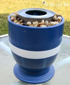 Turn a flower pot into a mini tabletop fire pit --- Perfect for roasting marshmallows! Tabletop firepit, use a large flower pot and put two or three of these in them! :) DIY It's almost the weekend