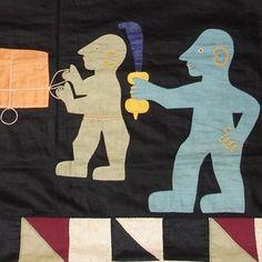 ASAFO FLAG (detail) Applique cotton flag Fante tribe  Ghanapre 1956